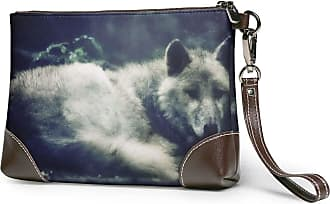 GLGFashion Womens Leather Wristlet Clutch Wallet Lonely White Wolf Storage Purse With Strap Zipper Pouch