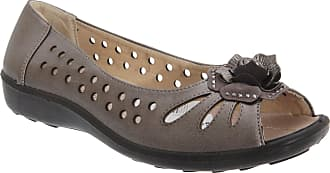 Boulevard Womens/Ladies Punched Open Toe Flower Casual Shoes (8 UK) (Pewter)