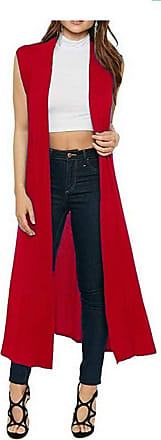 Crazy Girls Ladies Womens Soft Sleeveless Long Open Maxi Boyfriend Collared Cardigan (16-18, Red)
