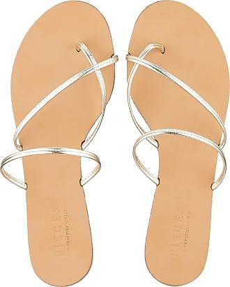 Pieces Womens Psannie Leather Sandal Flat, Gold Colour, 4.5 UK