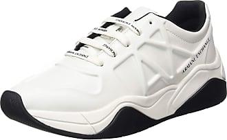 A X Armani Exchange Damen Embossed lace up Sneaker, Weiß (Op.White 00152), 37 EU 4 UK