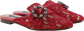 Dolce & Gabbana Loafers & Slippers - Lace With Jewel Buckle Slippers Rosso Scuro - red - Loafers & Slippers for ladies