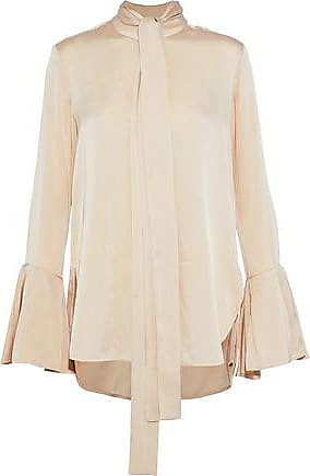 Ellery Ellery Woman Noveau Pussy-bow Washed Silk-blend Blouse Cream Size 14