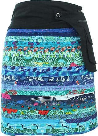 Loud Elephant Reversible Popper Wrap Knee Length Skirt - Blue Patch Strips/Diamond Block