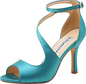 Elegantpark HP1565 Wedding Sandals for Women Peep Toe Wedding Shoes High Heels Ankle Strap Buckle Satin Evening Bridal Party Shoes Teal UK 6(EU 39)