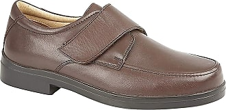 Roamers Mens Black Leather Extra Wide Touch Fastening Casual Shoe - Black - size UK Mens Size 10