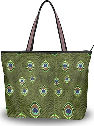 Lorona Women Beautiful Peacock Feather Pattern Canvas Shoulder Hand Bag Large Capacity Tote Bag