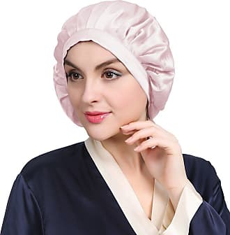 LilySilk 100% Mulberry Silk Night Sleep Cap Bonnet for Hair Loss Women Sleeping Hat 19 Momme Soft with Adjustable Elastic Ribbon Light Plum(Size: One Size)