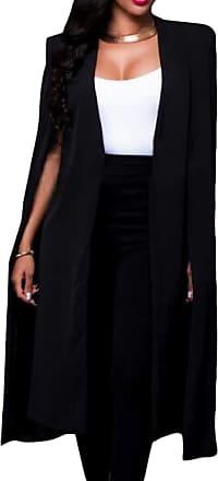 H&E Womens Casual Cape Plus Size Solid Color Blazer Work Jackets Black L