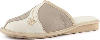 Ladeheid Womens Slippers House Shoes LAFA004 (Beige/Ecru, 37 EU = 4 UK)