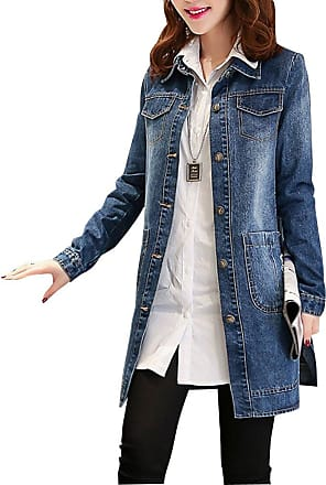 ZongSen Womens Casual Denim Jacket Long Loose Holes Ripped Coat Jackets Outwear Denim Blue L