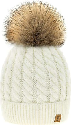 4sold Womens Ladies Beanie Hat Pom Pom Warm Winter Natural Wool Mohair Lining Full Cosy Fleece Liner (Carla Ecru)