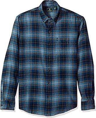 G.H. Bass & Co. Mens Fireside Flannels Long Sleeve Button Down Shirt, Blue Wing Teal, X-Large