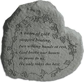 Kay Berry A Heart Of Gold Stopped Beating Heart Shaped Memorial Stone - Vine Engraving - 8020