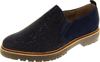 Footwear Studio Marco Tozzi Womens 8-24661-27 Blue Faux Suede Diamante Loafer Flat Shoes UK 5