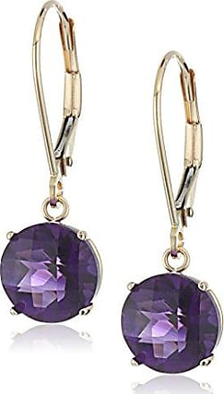 Amazon Collection 10k Yellow Gold Round Checkerboard Cut Amethyst Leverback Earrings (8mm)