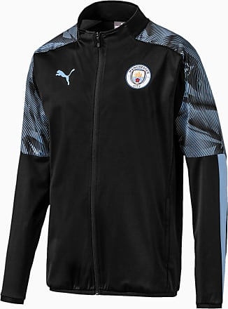 Puma Man City Woven Full Zip Mens Jacket, Black/Light Blue, size 2X Large, Clothing