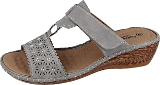 Cushion-Walk Ladies Faux Leather Laser Cut Diamante Foot Strap T Bar Peep Toe Slip On Low Wedge Backless Mules Summer Sandals Size 3-8 (Grey, Numeric_4)