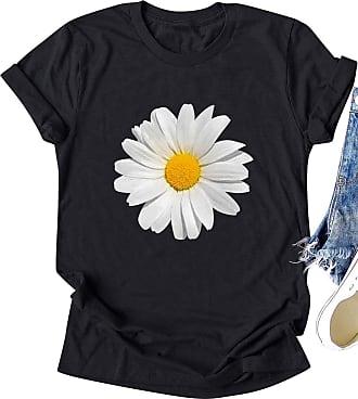 Dresswel Women Daisy Flower Print T-Shirt Short Sleeve Round Neck Tee Shirts Chrysanthemum Tops Black