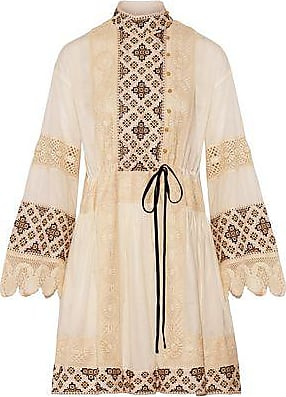 00c05a190 Tory Burch Tory Burch Woman Carlotta Lace-trimmed Embroidered Cotton-voile  Mini Dress Ivory