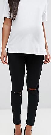Asos Maternity ASOS DESIGN Maternity Ridley high waisted skinny jeans in clean black with ripped knees with over the bump waistband