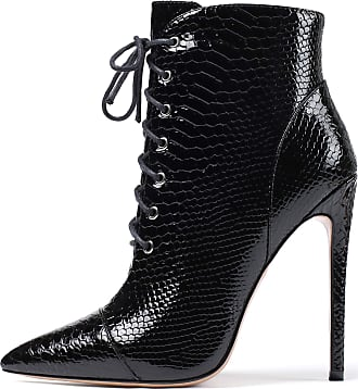 EDEFS Womens Lace Up Ankle Boots Snake Print High Heel Zipper Boots Pointed Toe Booties Black EU43