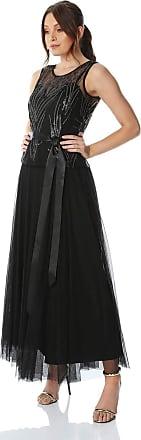 Roman Originals Women Sequin Tulle Maxi Dress - Ladies Long Ball Gown Party Evening Embellished Sleeveless Belt Tie Waist Glamorous Dresses - Black - Size 14