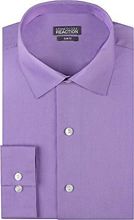 Kenneth Cole Reaction Kenneth Cole Mens Chambray Slim Fit Solid Spread Collar Dress Shirt, Iris, 18 Neck 34-35 Sleeve