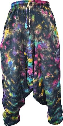 Gheri Mens Light Cotton Drop Crotch Ninja Aladdin Genie Harem Pants Trousers Black Rainbow Tie Dye SM