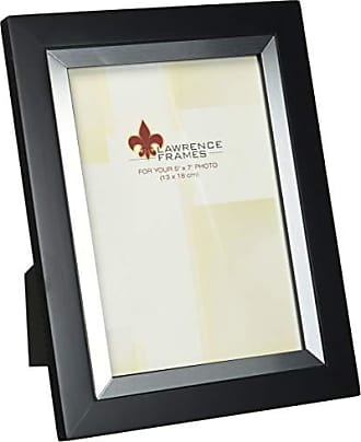 Lawrence Frames Black Wood 5 by 7 with Silver Metal Inner Bezel Picture Frame