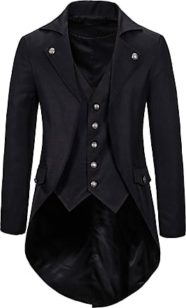 Whatlees Mens Steampunk Vintage Tailcoat Jacket Gothic Victorian Medieval Halloween Costume Coat Black 02010291XBlack+XL