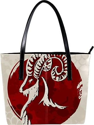 Nananma Womens Bag Shoulder Tote handbag Zipper Purse Top-handle Zip Bags - Red Goat
