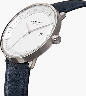 Nordgreen Philosopher - Navy Blue Leather - 36mm / Rose Gold