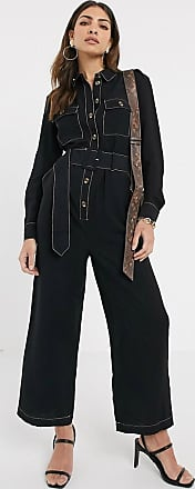 Warehouse denim jumpsuit with contrast stitching in black