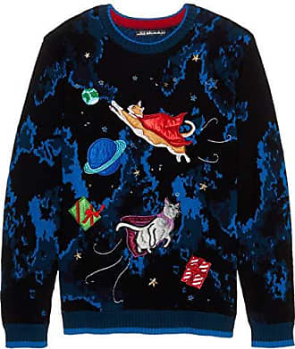 Blizzard Bay Mens Flying Space Cats Ugly Christmas Sweater, Large