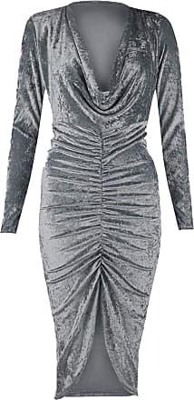 Islander Fashions Ladies Crushed Velvet Ruched Cowl Neck Dress Womens Fancy Long Sleeve Midi Dress Charcoal Crush X Large UK 16-18
