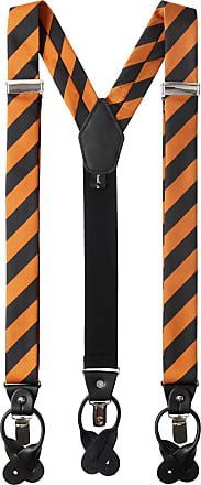 Jacob Alexander Mens College Stripe Y-Back Suspenders Braces Convertible Leather Ends and Clips - Orange Black