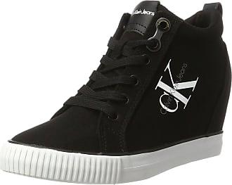 Calvin Klein Jeans Womens Ritzy Canvas High Sneaker, Black, 2 UK