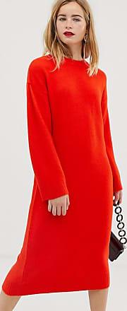Asos Vestito midi soffice in maglia-Rosso