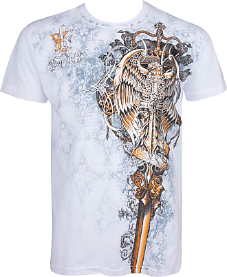Sakkas TGEaglePerch745 Eagle Perched on a Sword Metallic Silver Embossed Short Sleeve Crew Neck Cotton Mens Fashion T-Shirt - White/X-Large