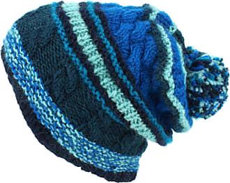 Loud Elephant Wool Knit Bobble Beanie Hat - Stripe Blue