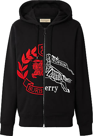 41cfaaca0c3f Burberry Contrast Crest Cotton Hooded Top - Black