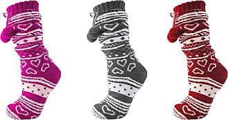 Foxbury Ladies/Womens Fleeced Pom Pom Slipper socks with Grips in 3 Colours (Hot Pink)