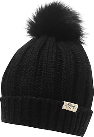 Firetrap Womens Turn Up Hem Pom Pom Beanie Hat (Black, One Size)