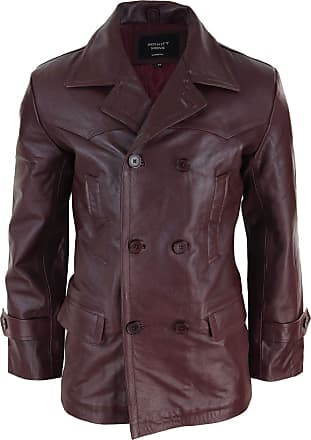 Infinity Mens Real Leather 3/4 Double Breasted Pea Coat Sherlock Brown Sailor Classic - Wine 4XL