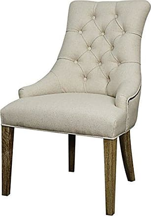 New Pacific Direct Celestia Fabric Tufted Chair,Distressed Brown Legs,Light Sand,Fully Assembled,Set of 2