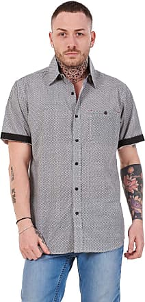 JD Williams Mens 100% Cotton Printed Shirt Short Sleeve Regular Big Size Casual Top M to 5XL Grey