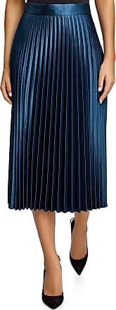 oodji Collection Womens Accordion Pleat Midi Skirt, Blue, UK 14 / EU 44 / XL
