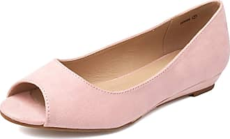 Dream Pairs Dories Womens Peep Toe Ballet Slip On Flats Shoes Pink Suede Size 7.5 US/5.5 UK