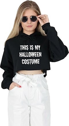 Sanfran Clothing Sanfran - This is My Halloween Costume Top Fashion Grunge Vampire Cropped Hoody Hoodie - Extra Large/Black